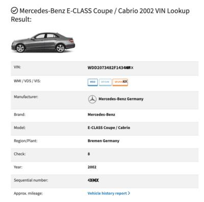 VIN Decoder Mercedes